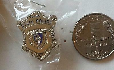 Vintage Massachusetts State Police Silver-Colored Mini Badge Pin