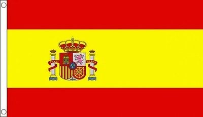 SPAIN FLAG 5' x 3' With State Crest Spanish National Flags