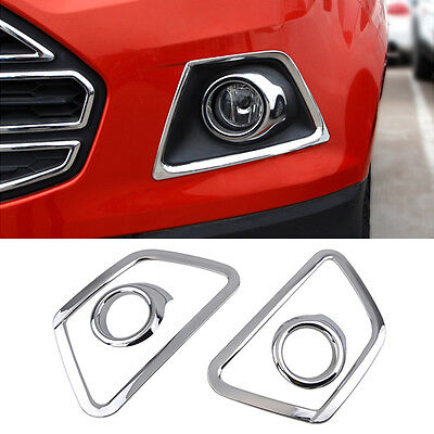 Fit For Ford Ecosport 2013- Chrome Front Bumper Fog Light Lamp Cover Trim Bezel