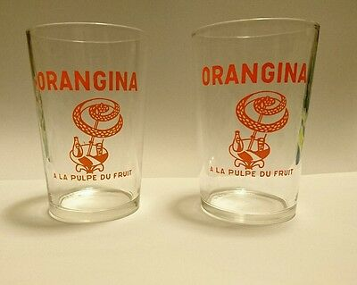 LOT 2 ANCIENS VERRES ORANGINA - A LA PULPE DU FRUIT - 70s Vintage Bistrot Coca
