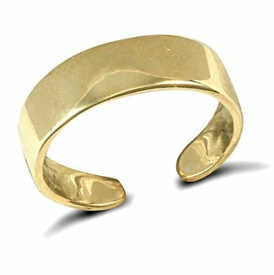 New Hallmarked Ladies Solid 9ct Yellow Gold Flat 5mm Wide Band Toe Ring RRP £94
