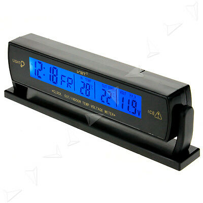 Digital Car Voltage Monitor Battery Alarm Clock LCD Temperature Thermometer 12V