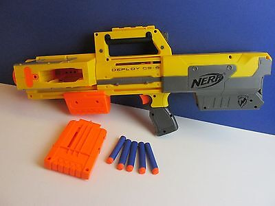 NERF DEPLOY cs 6 toy RIFLE gun blaster WITH BULLETS n strike HAS RED LIGHT 183