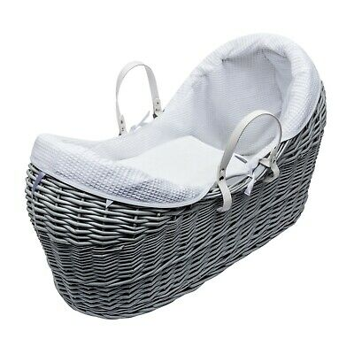 Grey Pod Moses Basket With White Waffle Dressing