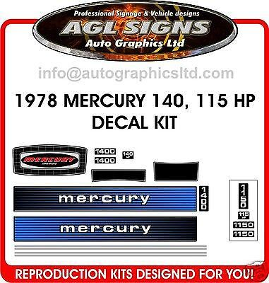 1978 MERCURY 140 hp Outboard decal set   reproductions   90 115 hp also
