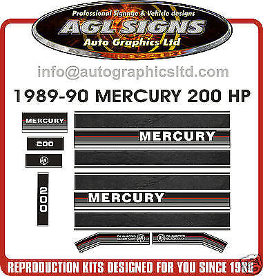 1989 1990 MERCURY 200 hp Outboard decal set   reproductions  135 150 175 also