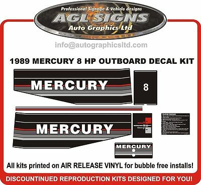 1989 1990 1991 MERCURY 8 hp Reproduction Decal Kit   6  9.9 15 hp also