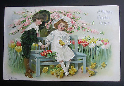 Antique Postcard Tucks Easter Series Children Boy & Girl on Bench Lots of Chicks