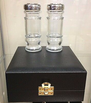 Leo Fennel Of London Silver Topped Salt And Pepper Set In Original Box