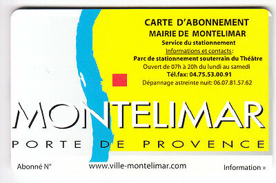 Piaf Parking Carte / Card ..montelimar Abonnement V° 15Ln  Magnetique