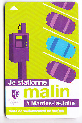 Piaf Parking Carte / Card .. 15€ Mantes La Jolie Auto Car V° 11Ln Magnetique