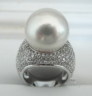 HS Gem Quality 16.6mm White South Sea Cultured Pearl & Diamond 3.312ctw Ring 18K