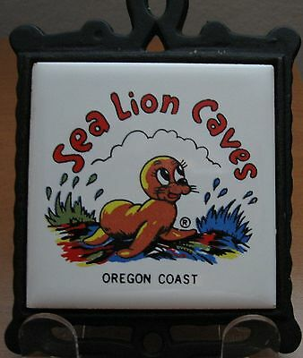 Vintage Seal Lion Caves Cast Iron Tile Trivet Oregon Coast Kitchen Decor