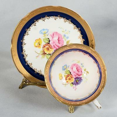 Royal Grafton Teacup & Saucer - White/blue Band Floral Centres, Heavily Gilded