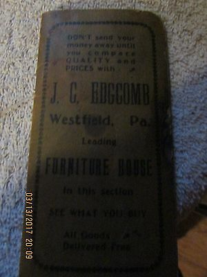 J. G. Edgecomb 1906 Booklet Info Westfield Pa Furniture House Phamlet