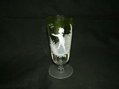 "Antique Optic Mary Gregory Hand Painted Boy Green Shaded Stem Glass 6"" Free Ship"