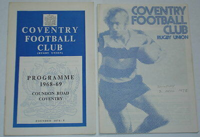 Coventry Wanderers Rugby Union Programme 1968 And Public School Wanderers 1978