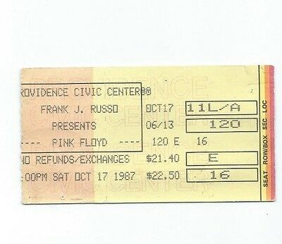 Pink Floyd Providence Civic Center Concert Ticket Stub Oct 17, 1987