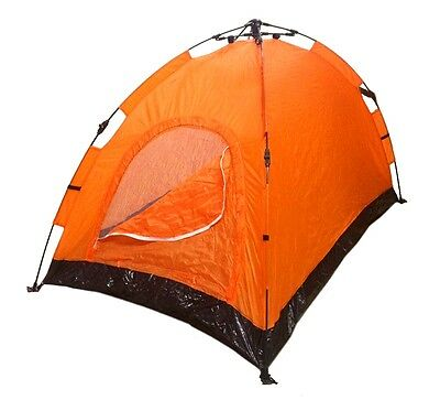 Instant Automatic Pop Up Backpacking Camping Hiking 2 Man Tent Orange Sealed