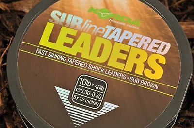 KORDA TAPERED SUBLINE SHOCK LEADERS, 5 x 12mtrs IN BROWN COLOUR FOR CARP FISHING