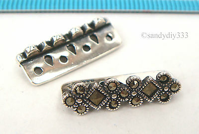 1x STERLING SILVER FLOWER MARCASITE STONE SEPARATOR SPACER BEAD 19mm #2291