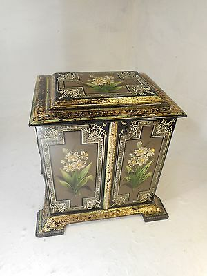 Antique Desktop Lacquered Cabinet , Papier Mache , Gitl Decoration     ref 3076