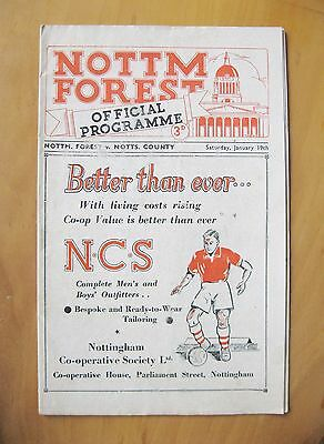 NOTTINGHAM FOREST v NOTTS COUNTY 1951/1952 *Exc Condition Football Programme*