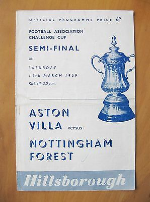 1959 FA Cup Semi-Final ASTON VILLA v NOTTINGHAM FOREST Good Condition Programme