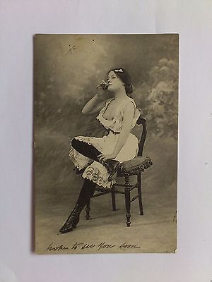 Old Risque Erotic Postcard Pose French lady Early Lingerie Posted Battersea 1904