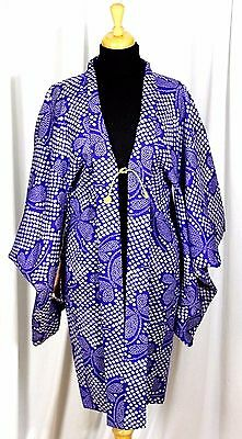 "HANDMADE PURPLE BLUE FLORAL 100% COTTON SHORT LENGTH SILK LINED KIMONO 37"" Long"