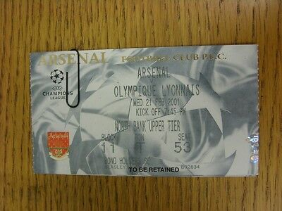 21/02/2001 Ticket: Arsenal v Lyon [Champions League]. This item has been inspect
