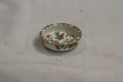 19C Chinese Porcelain Famille Rose Butteryfly Roses Leaves Round Low Bowl