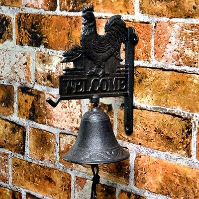 Large Cast Iron Rustic Hanging Door Bell Welcome  Rooster Country Antique 1895