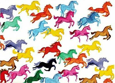 Rainbow Ponies Rolled Gift Wrap Paper - 2 Sheets 19.5 in x 27.5 in