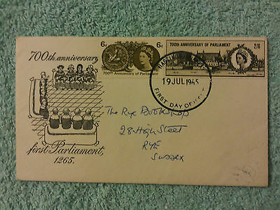 700th ANNIVERSARY FIRST PARLIAMENT 19th JULY 1965 ILLUSTRATED FIRST DAY COVER