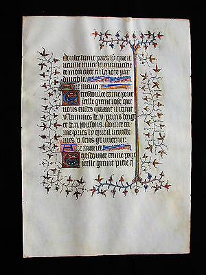 "1370 Medieval Vellum, AMAZING Latin Leaf ""GOLD RAMIFICATIONS"" Book of Hours..B32"