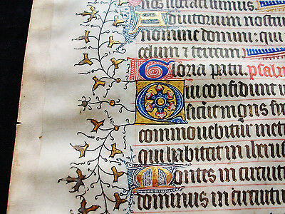 "1370 Medieval Vellum, AMAZING Latin Leaf ""GOLD RAMIFICATIONS"" Book of Hours..B45"