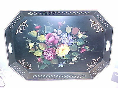 Stunning Huge Tole Painted Pierced Tray-Bright Floral On Black