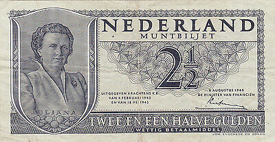 2 1/2 Gulden Very Fine Banknote From Netherlands Indies 1949!pick-73!