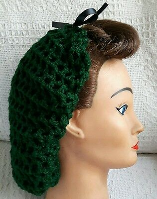 Hair Snood (Forest Green With Black Ribbon-Handmade-1940's Style)
