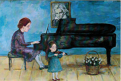 Little Girl with violin - her FIRST CONCERT Modern Russian card by N.Chakvetadze