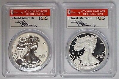 2012 S Silver Eagle 75th Ann Set SF Mint PCGS PR69DCAM & Reverse Proof Mercanti