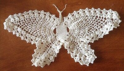 Lace Crochet Butterfly, Pineapple Pattern, Wall Hanging, Appliqué, Creamy White