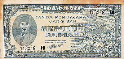 10 Rupiah Vg Guerilla Note From Indonesia 1945!pick-19!revolutionary Issue!