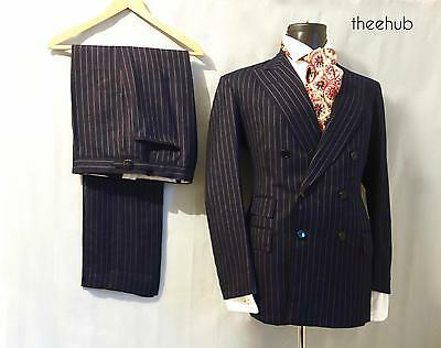 Vintage 70s Classic Gent's City Luxury Bespoke Tailored D/B Bold 2 Piece Suit