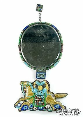 Chinese Gilt Copper Enamel Court Necklace Mirror with Large Horse Plaque, 19th C