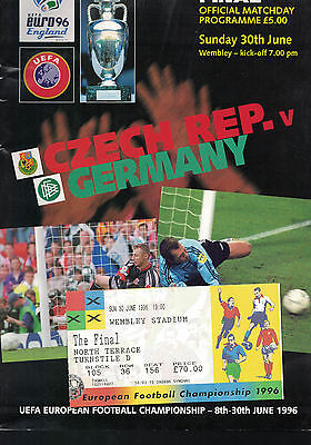 Euro '96  CUP FINAL  programme with ticket  see scan in good clean condition