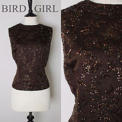 Blacktie Oleg Cassini 1990S Vintage Brown Floral Beaded Evening Top 18 L