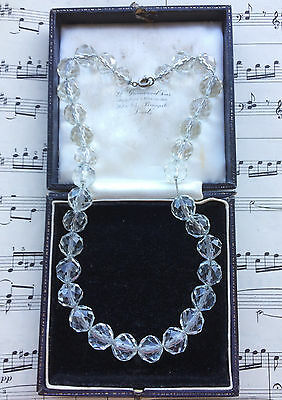 Antique Edwardian Cut Glass Crystal Pools Of Light Beads Necklace. Bridal. Gift