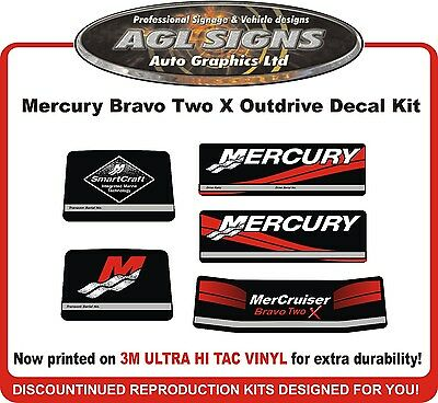 Mercury Bravo Two X Outdrive Decal Kit   Mercruiser  reproductions